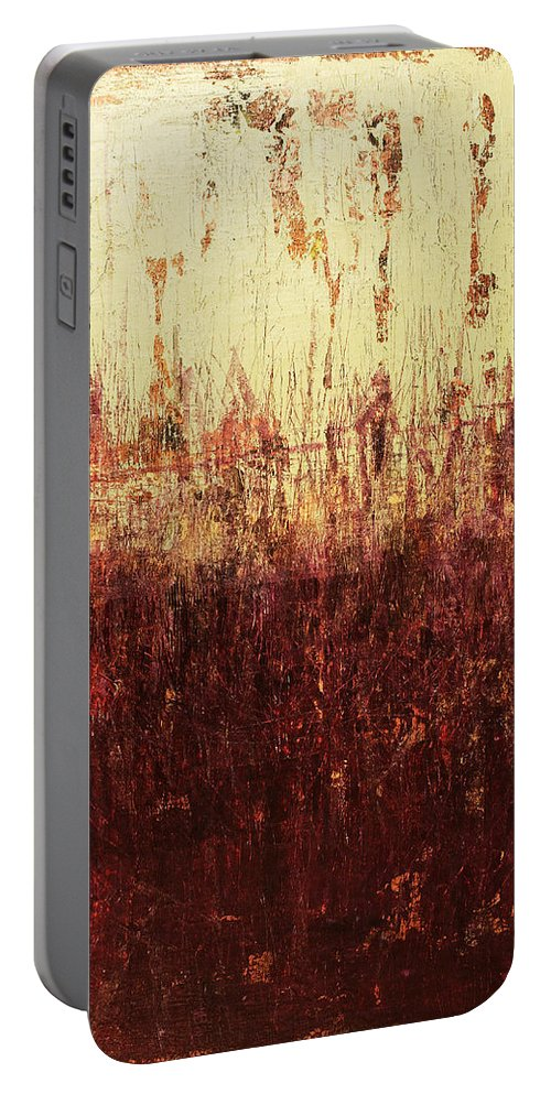 Green Portable Battery Charger featuring the painting Untitled No. 5 by Julie Niemela