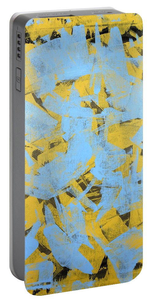 Yellow Portable Battery Charger featuring the painting Untitled No.19 by Julie Niemela