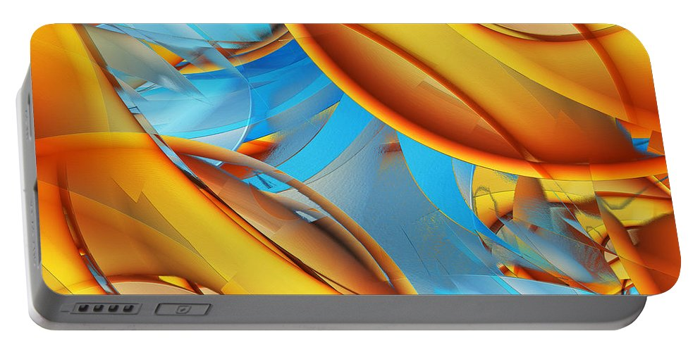 Orange Portable Battery Charger featuring the digital art Untitled Xiii by Tiia Vissak