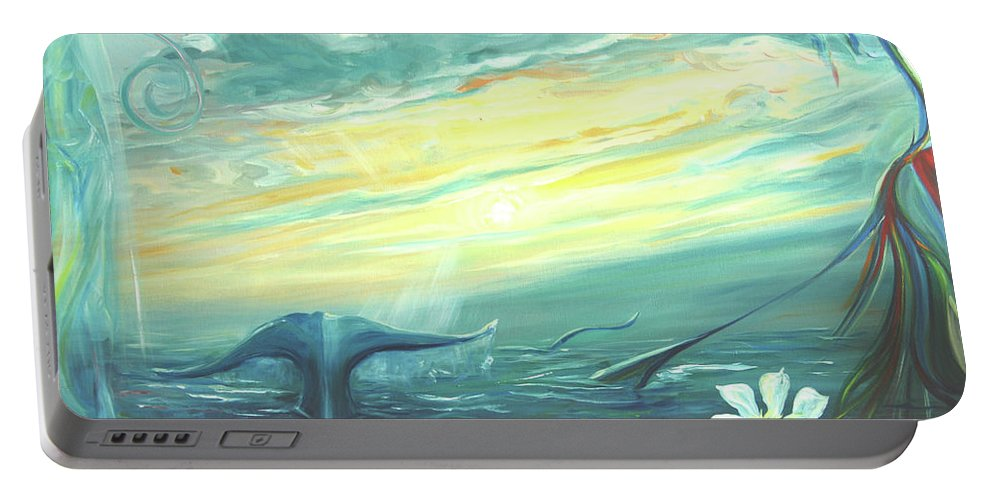 Whale Fluke Portable Battery Charger featuring the painting Unveiling The Daystar by Jennifer Christenson