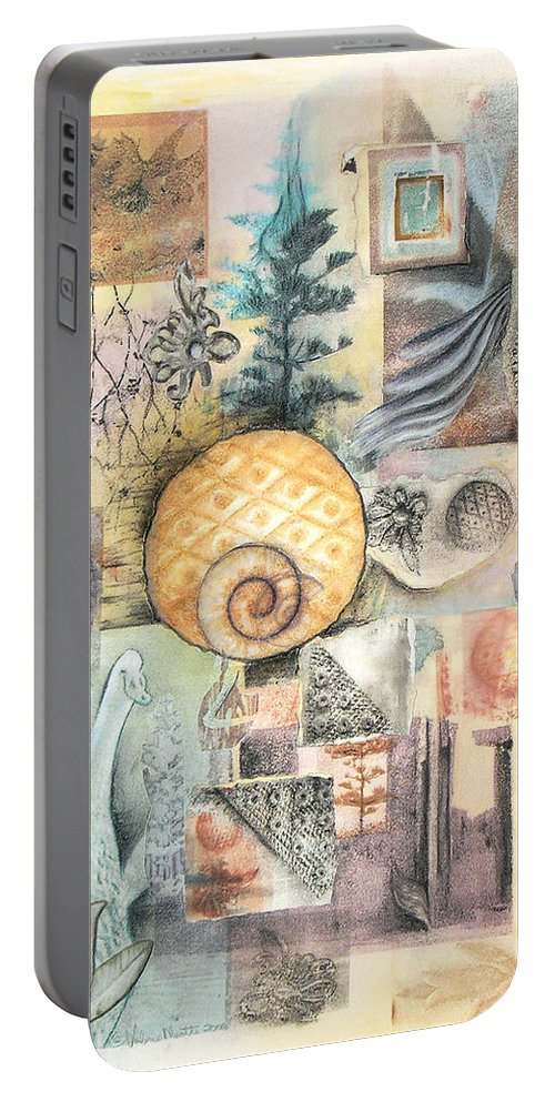 Abstract Portable Battery Charger featuring the mixed media Up And Away by Valerie Meotti