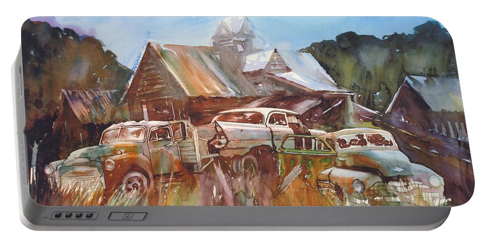 Chev Plymouth House Barn Portable Battery Charger featuring the painting Up the Road a Bit by Ron Morrison
