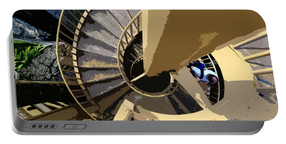 Spiral Staircase Portable Battery Charger featuring the painting Up The Spiral Staircase by David Lee Thompson