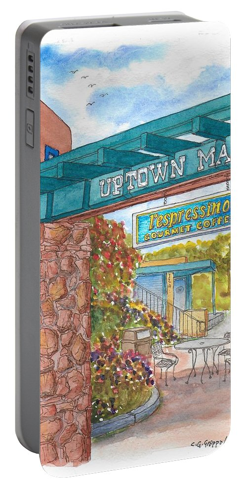 Sedona Portable Battery Charger featuring the painting Sedona Up Town Mall In Sedona, California by Carlos G Groppa