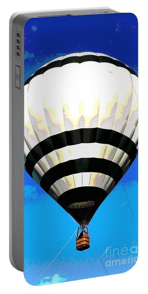 Balloon Portable Battery Charger featuring the photograph Up, Up And Away... by Christine Chepeleff