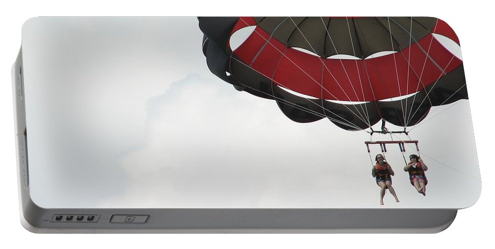 Parasail Portable Battery Charger featuring the photograph Up Up And Away by Kelly Mezzapelle