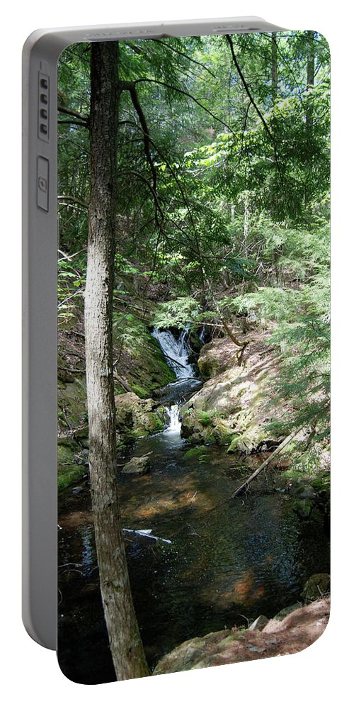 Michigan Portable Battery Charger featuring the photograph Upper Adler Falls 4405 by Michael Peychich