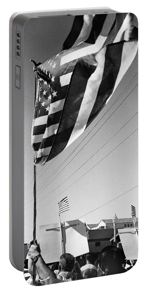 Upraised Flag Support Mlk Day March Tucson Arizona 1991 Portable Battery Charger featuring the photograph Upraised Flag Support Mlk Day March Tucson Arizona 1991 by David Lee Guss