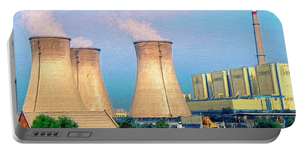 Nuclear Power Portable Battery Charger featuring the painting Upscale Neighborhood by Dominic Piperata