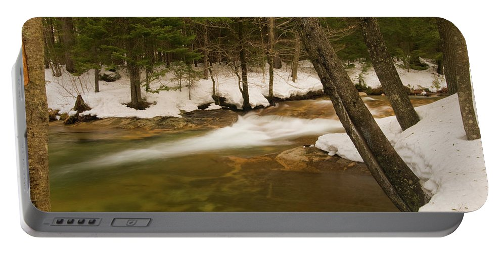 white Mountains Portable Battery Charger featuring the photograph Upstream From The Basin by Paul Mangold