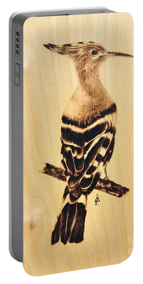 Upupa Portable Battery Charger featuring the pyrography Upupa by Ilaria Andreucci