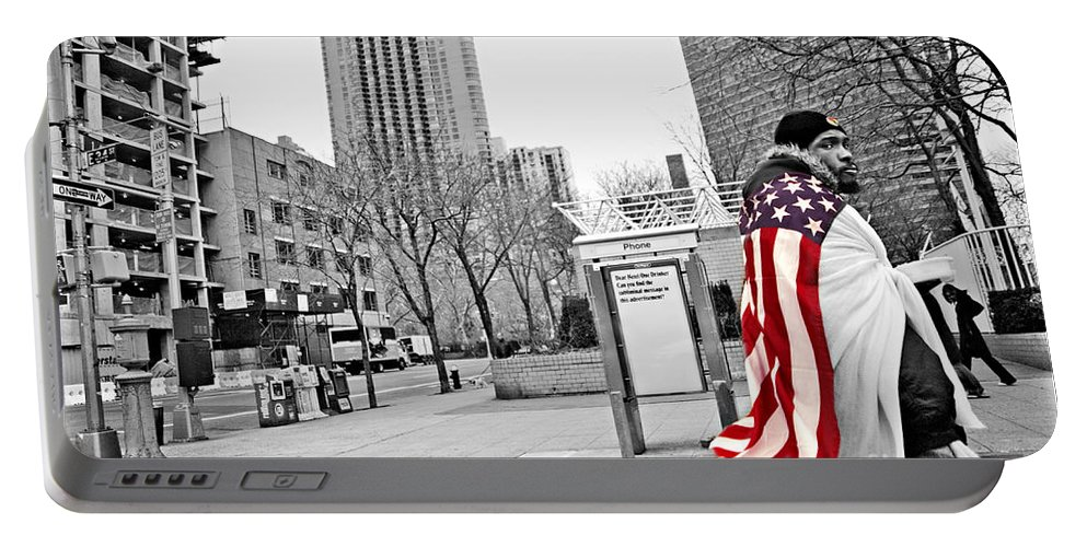 Man Portable Battery Charger featuring the photograph Urban Flag Man by Madeline Ellis