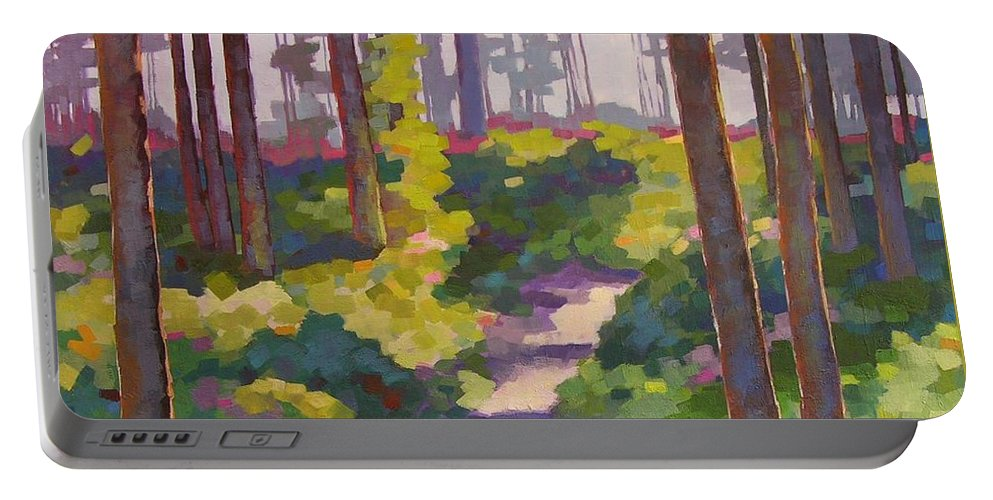 Landscape Portable Battery Charger featuring the painting Urban Trail Climb by Mary McInnis