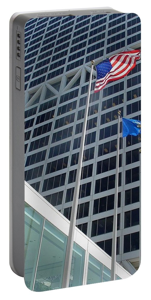 Us Bank Portable Battery Charger featuring the photograph Us Bank With Flags by Anita Burgermeister