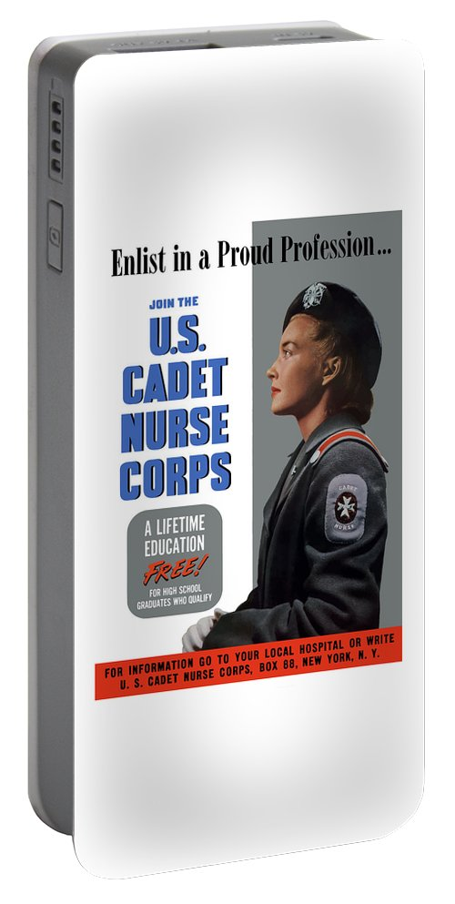 Nursing Portable Battery Charger featuring the painting Us Cadet Nurse Corps - Ww2 by War Is Hell Store