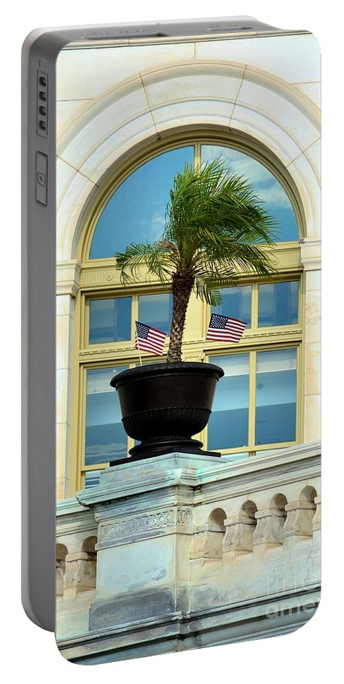 Capital Building Portable Battery Charger featuring the photograph Us Capital Building Window by Katherine W Morse