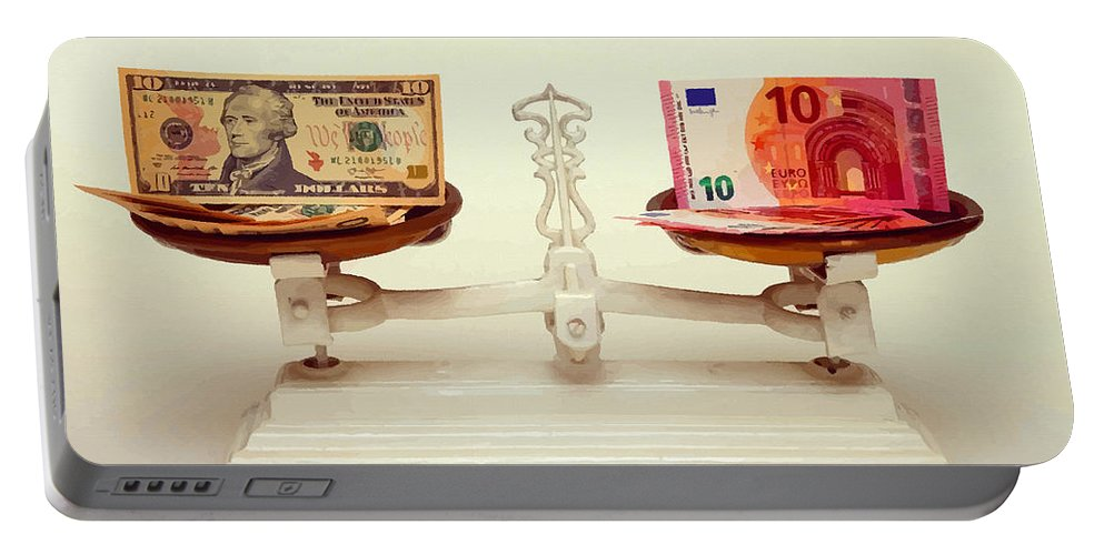 English Setter Portable Battery Charger featuring the digital art U.s. Dollar And Euro Banknotes On A Pair Of Scales In Vienna by Don Kuing