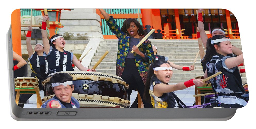 English Setter Portable Battery Charger featuring the digital art U.s. First Lady Michelle Obama Plays The Taiko Drum by Don Kuing