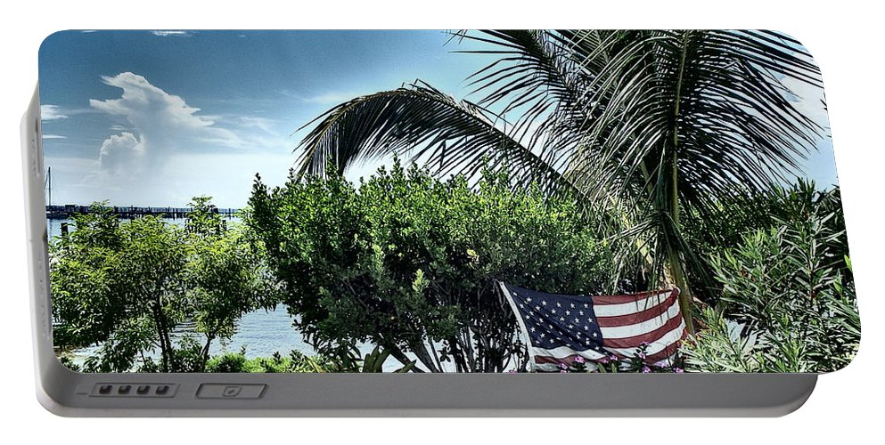 Amerian Flag Portable Battery Charger featuring the photograph US Flag in the Abaco Islands, Bahamas by Cindy Ross
