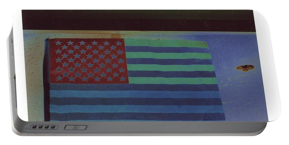 Us Flag On Wall Casa Grande Arizona 2004 Portable Battery Charger featuring the photograph Us Flag On Wall Casa Grande Arizona 2004-2008 by David Lee Guss