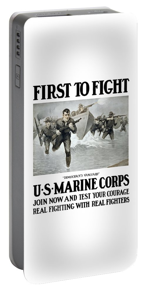 Marines Portable Battery Charger featuring the painting Us Marine Corps - First To Fight by War Is Hell Store