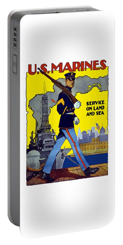 Marines Portable Battery Charger featuring the painting U.s. Marines - Service On Land And Sea by War Is Hell Store
