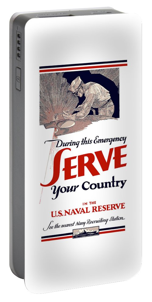 Navy Recruiting Portable Battery Charger featuring the painting Us Naval Reserve Serve Your Country by War Is Hell Store