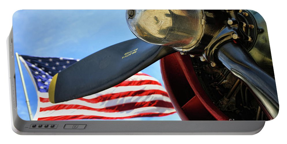 Wwii Portable Battery Charger featuring the photograph Usa Flag Bomber Wwii by Chuck Kuhn