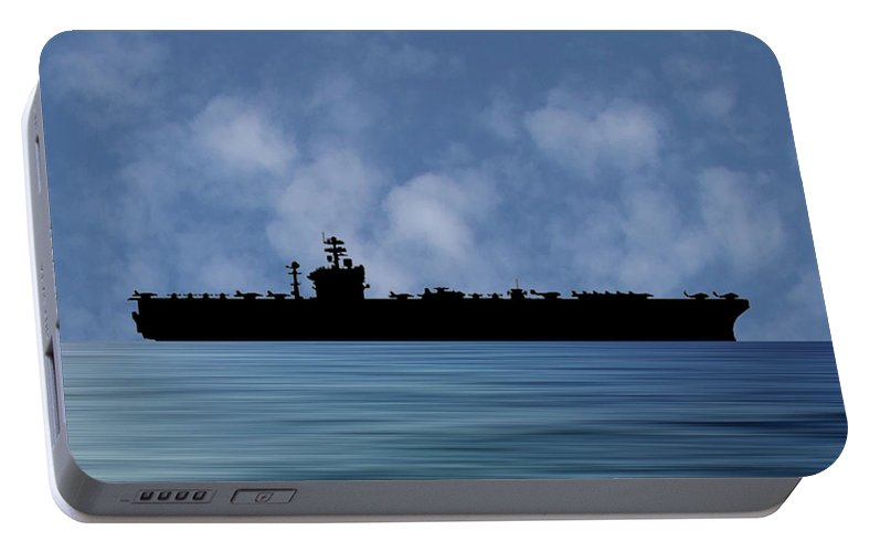 Uss Abraham Lincoln Portable Battery Charger featuring the photograph Uss Abraham Lincoln 1988 V1 by Smart Aviation