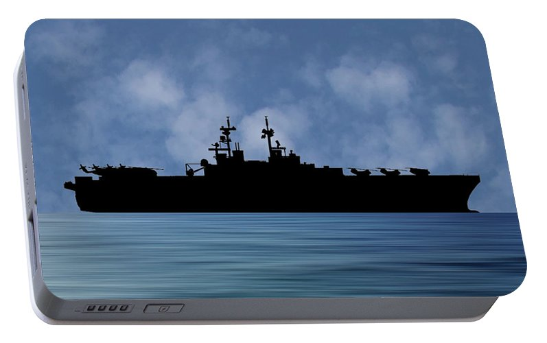 Uss Essex Portable Battery Charger featuring the photograph Uss Essex 1992 V1 by Smart Aviation