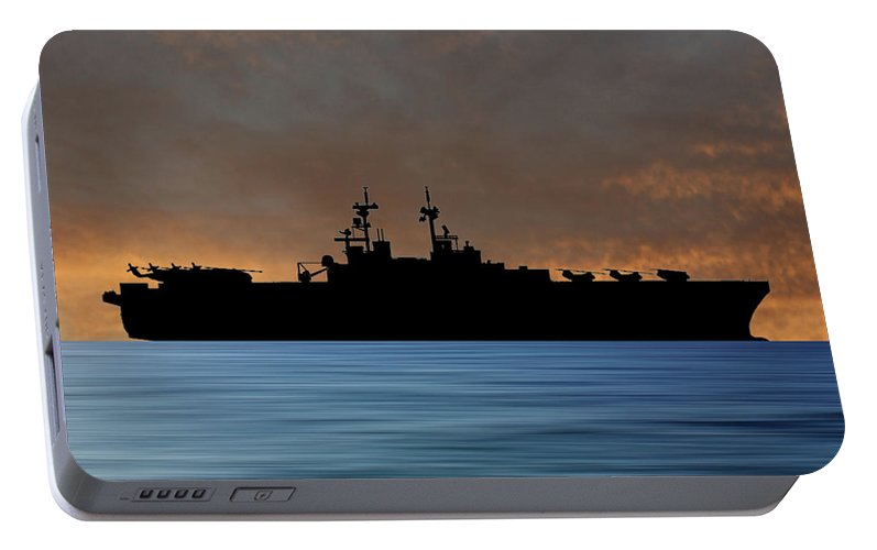 Uss Essex Portable Battery Charger featuring the photograph Uss Essex 1992 V3 by Smart Aviation