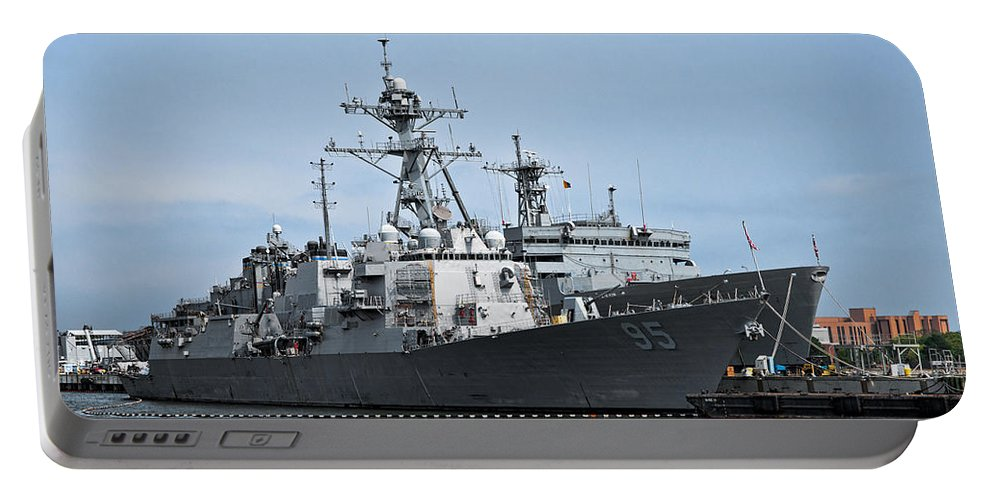 Ship Portable Battery Charger featuring the photograph Uss James E. Williams Ddg-95 by Christopher Holmes