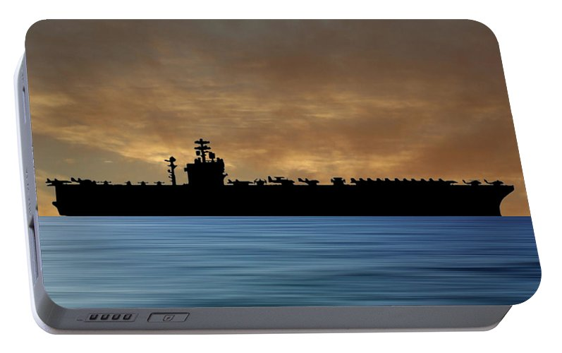 Uss Nimitz Portable Battery Charger featuring the photograph Uss Nimitz 1975 V2 by Smart Aviation