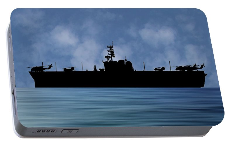 Uss Okinawa Portable Battery Charger featuring the photograph Uss Okinawa 1960 V1 by Smart Aviation