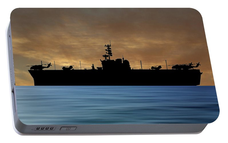 Uss Okinawa Portable Battery Charger featuring the photograph Uss Okinawa 1960 V2 by Smart Aviation