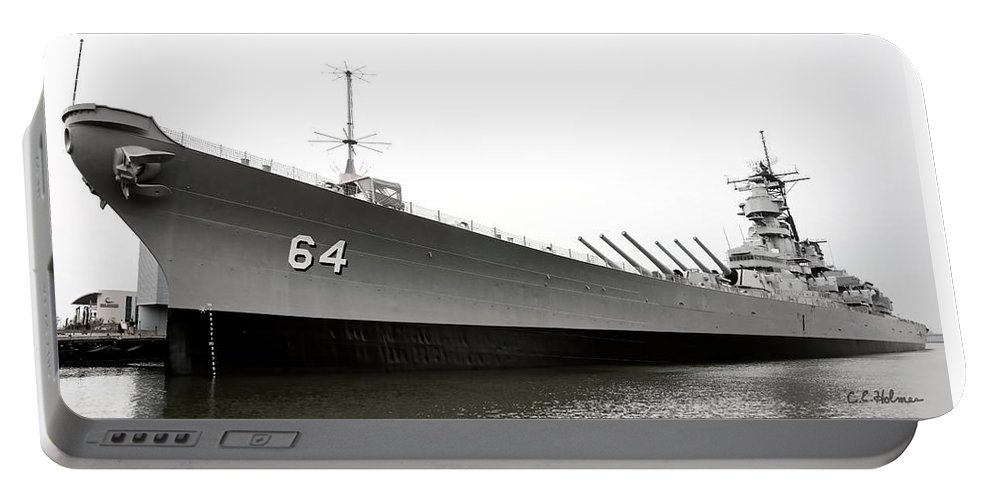 Ship Portable Battery Charger featuring the photograph Uss Wisconsin - Port-side by Christopher Holmes