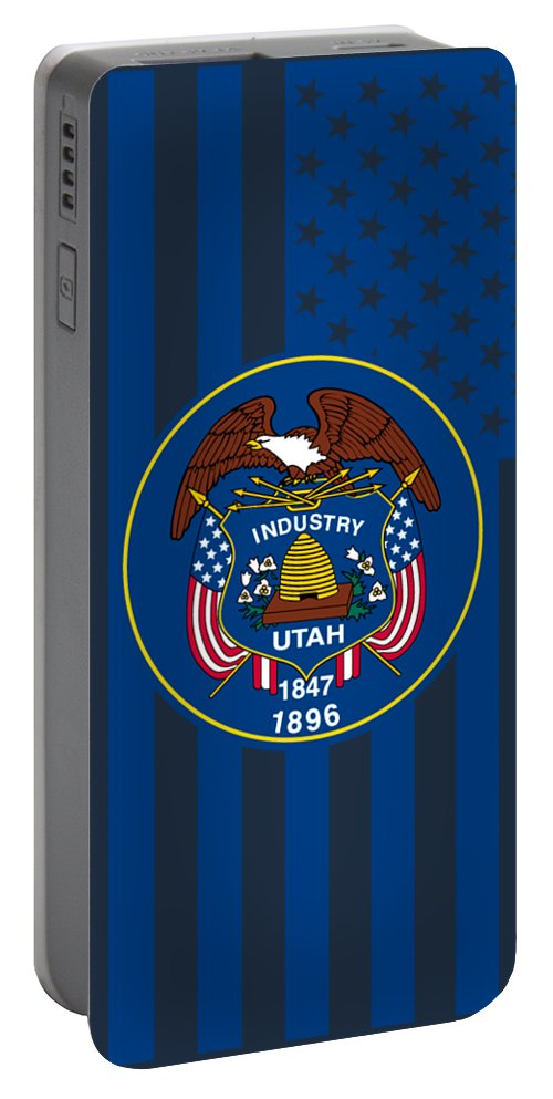 Utah Portable Battery Charger featuring the digital art Utah State Flag Graphic Usa Styling by Garaga Designs