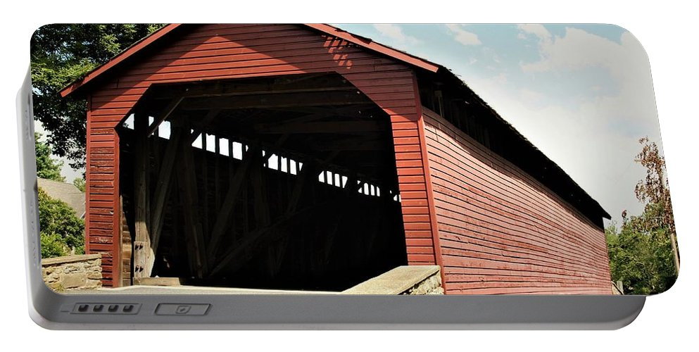 Utica Mills Covered Bridge Portable Battery Charger featuring the photograph Utica Mills Covered Bridge by Patti Whitten