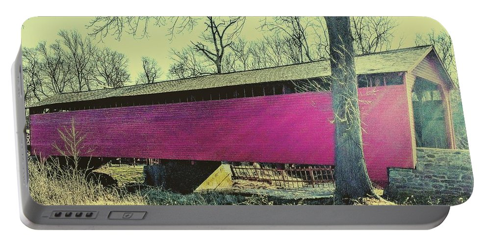 Bridge Portable Battery Charger featuring the photograph Utica Mills Covered Bridge by Paul Kercher