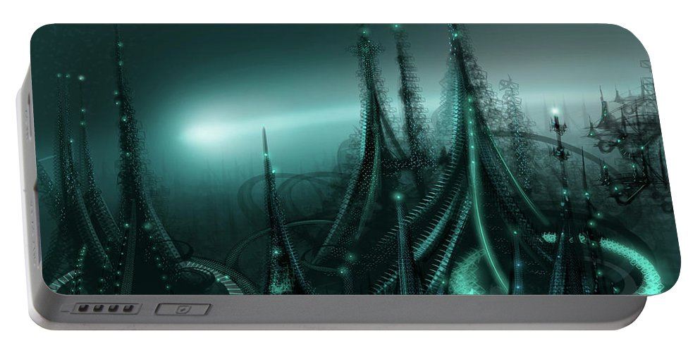 Cityscape Portable Battery Charger featuring the digital art Utopia by James Christopher Hill
