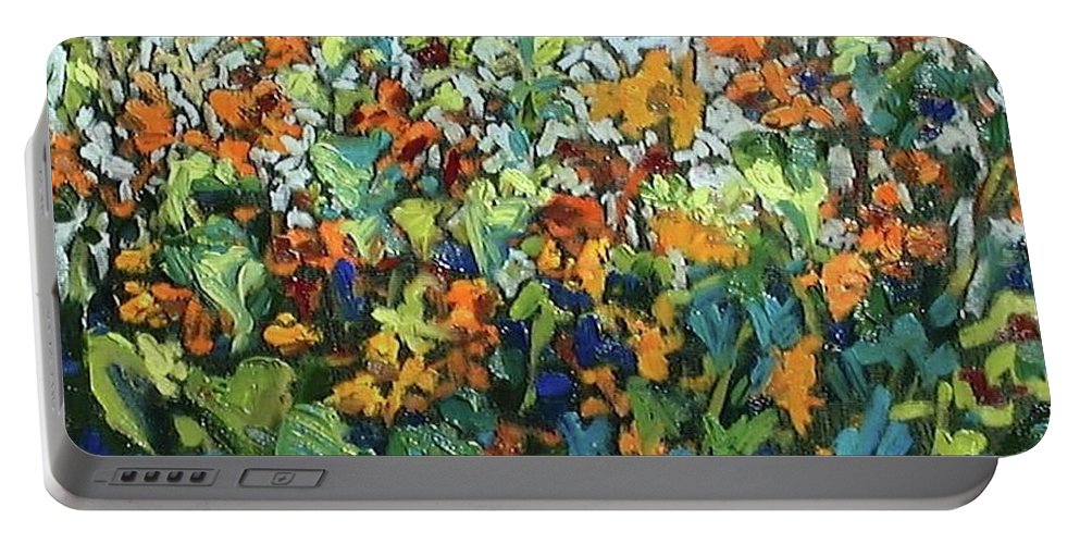 Sunflowers Portable Battery Charger featuring the painting Vadasz Sunflowers by Susan McKenna List