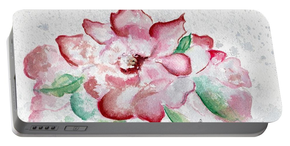 Watercolor Portable Battery Charger featuring the painting Valentine Rose by Brenda Owen