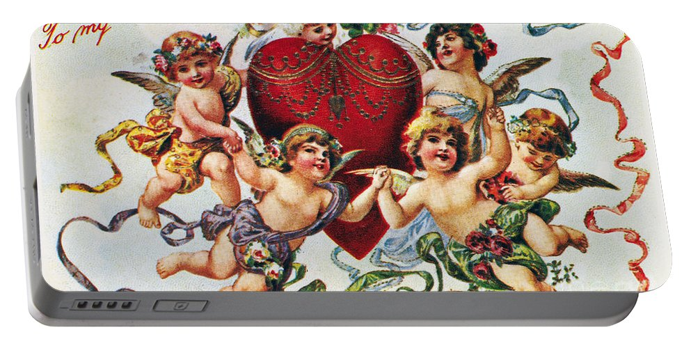 1900 Portable Battery Charger featuring the photograph Valentines Day Card by Granger