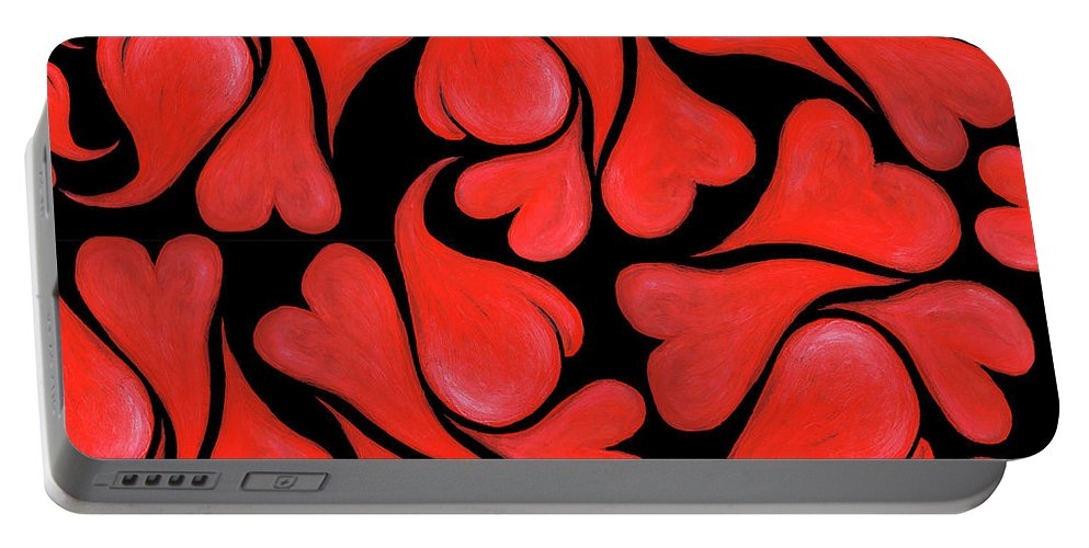 Hearts Portable Battery Charger featuring the painting Valentines Hearts by Nancy Mueller