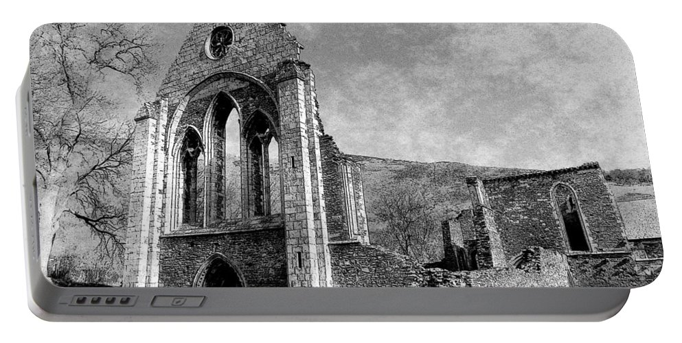Valle Portable Battery Charger featuring the photograph Valle Crucis Abbey Monochrome by Brainwave Pictures