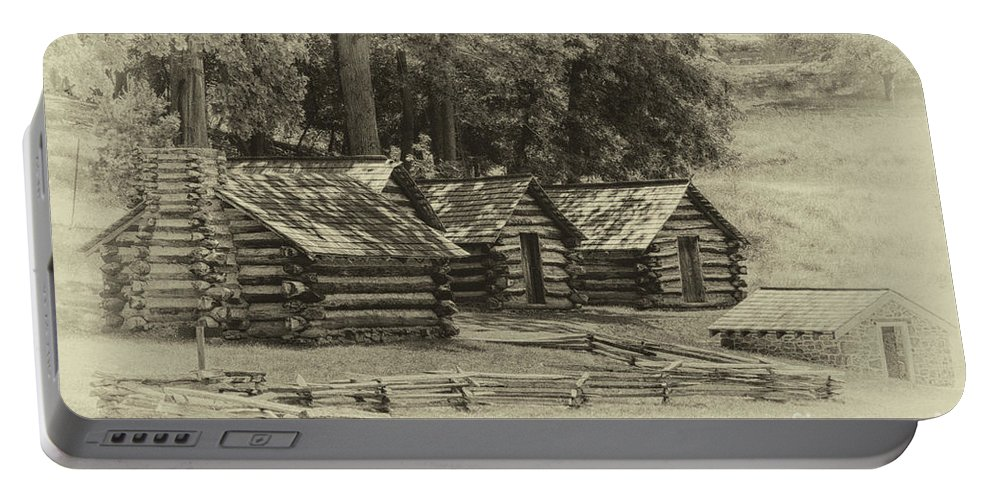 America Portable Battery Charger featuring the photograph Valley Forge Barracks In Sepia by Tom Gari Gallery-Three-Photography