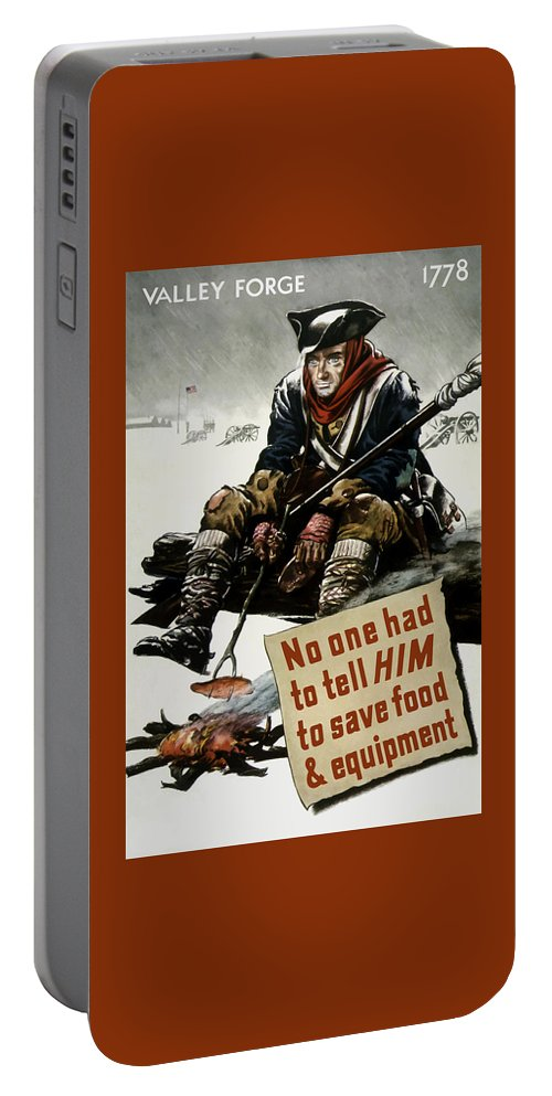 World War Ii Portable Battery Charger featuring the painting Valley Forge Soldier - Conservation Propaganda by War Is Hell Store