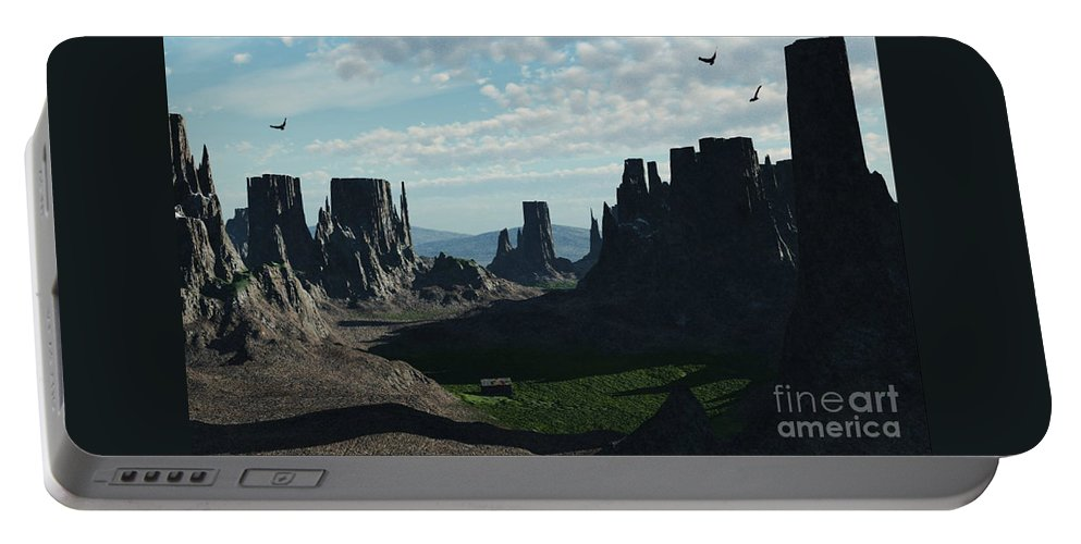 Valley Portable Battery Charger featuring the digital art Valley Of The Kings by Richard Rizzo