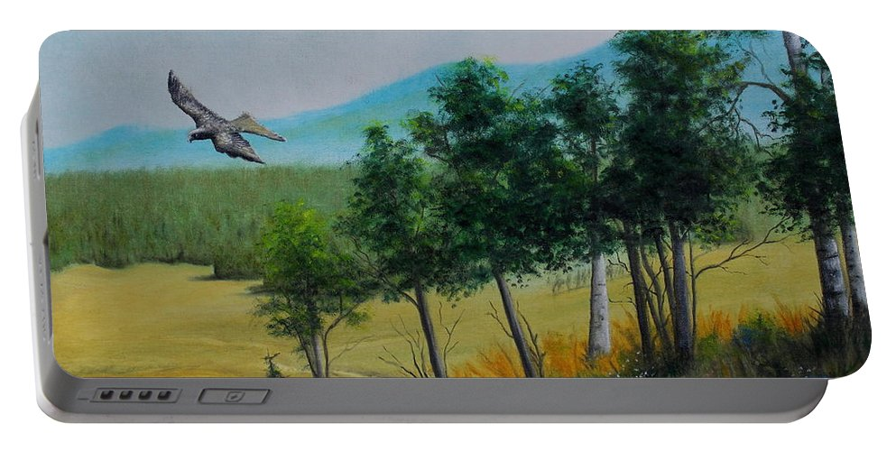 Mountains Portable Battery Charger featuring the painting Valley View From Up The Hill by Jose Corona