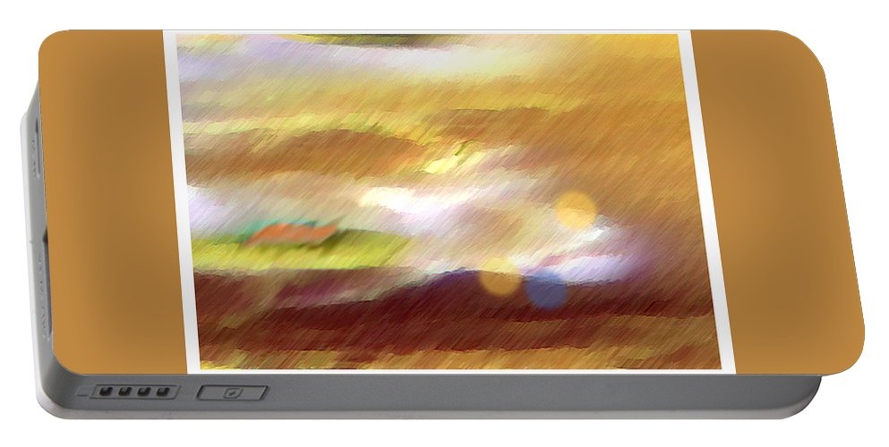 Landscape Portable Battery Charger featuring the painting Valleylights by Anil Nene